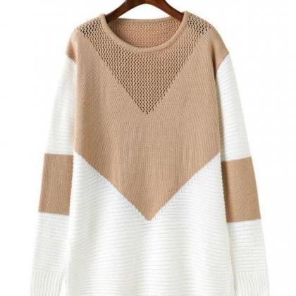 Colour Block Knit Crew Neck Long Cu..