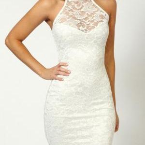 Lace Hanging Neck Slim Dress