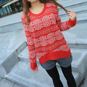 Loose Fitting Snowflake Knit Sweate..