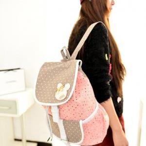 Cute Pink Polka Dots Design Backpac..