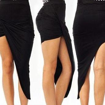 Black Ruched High Low ASYMMETRICAL ..