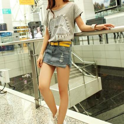 Holes Casual Slit Pocket Design Low..