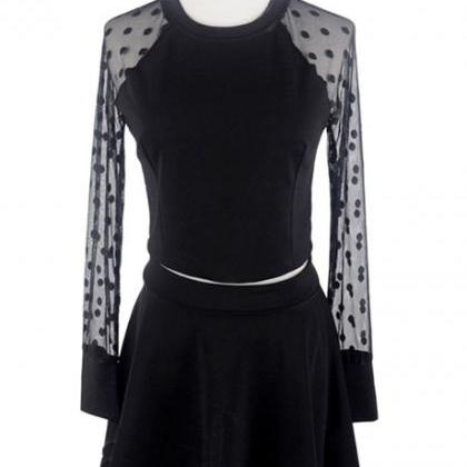Two Pieces Dot Mesh Tops With Skirt..