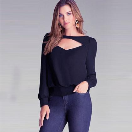 Fashion Solid Color Long Sleeve Hol..