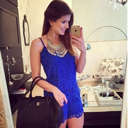 Fashion Solid Color Lace Sling Jump..