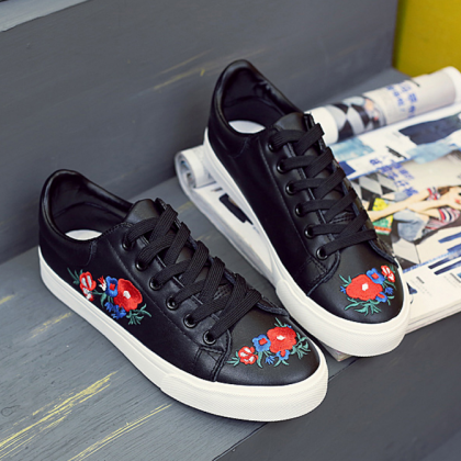Leather Sneakers Featuring Floral E..
