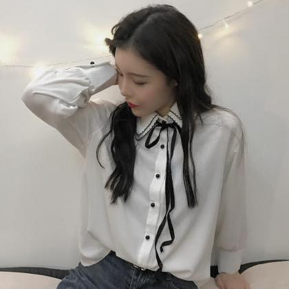 Chic Romantic Trim Collar Bow Shirt..