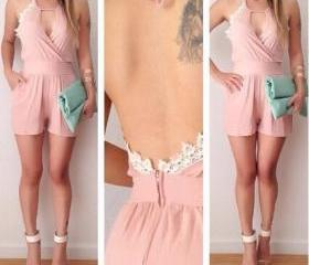 Pink Backless Jumpsu..