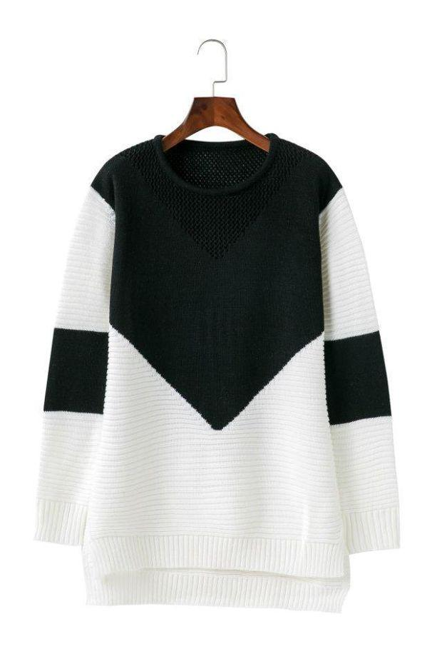 Colour Block Knit Crew Neck Long Cuffed Sleeves Sweater Featuring High Low Hem