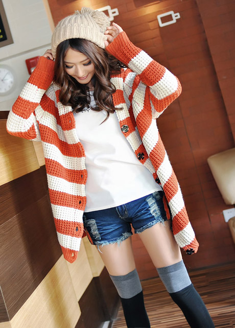 Free Shipping Casual Hat Decoration Long Pattern Striped Cardigans