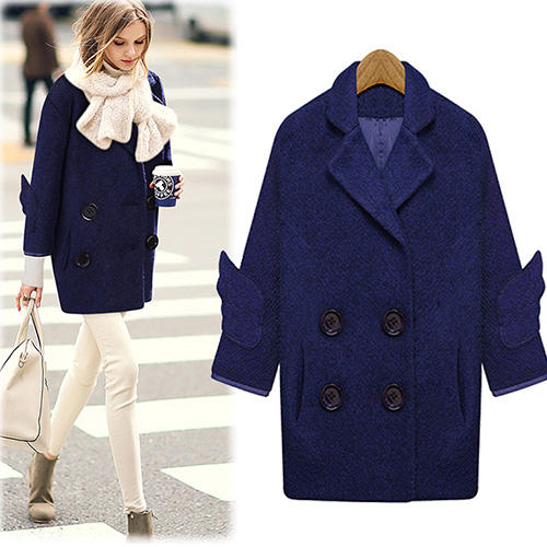 Fashion Solid Color Double-Breasted Woolen Coat