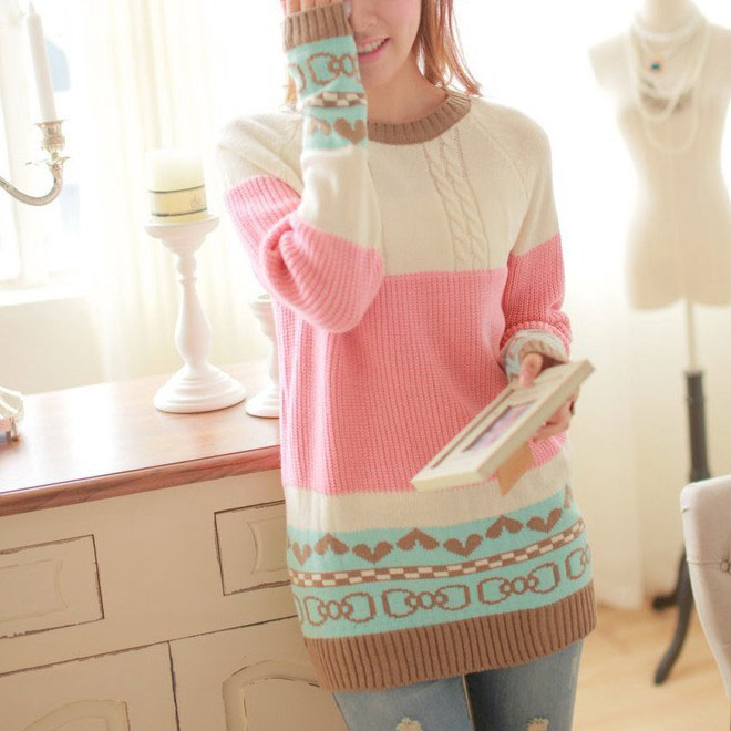 Fashion Love Mixed Colors Bow Printed Sweater&Cardigant