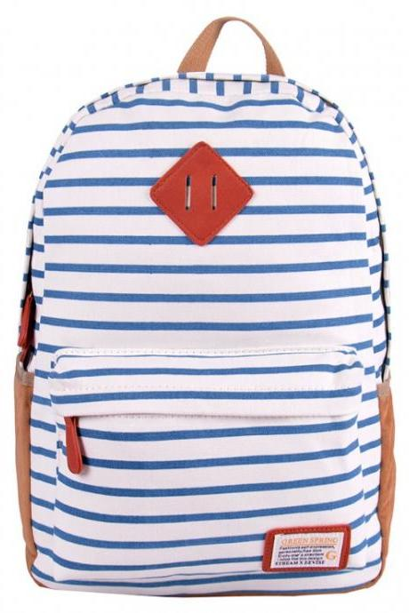 White And Blue Striped Leisure Canvas Backpack