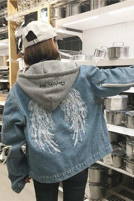 Wings Embroidered Denim Coat Jacket