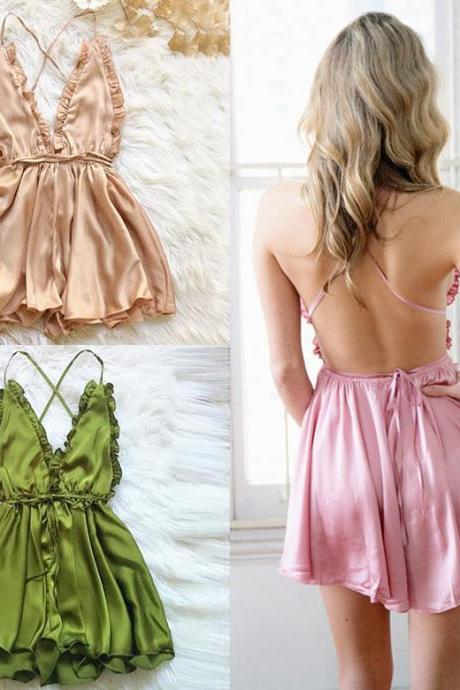 Romantic Sexy Frills Satin Romper Backless Champagne Pink Sexy