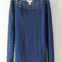 Blue Hollow Net Long Sleeved Pullover Sweater