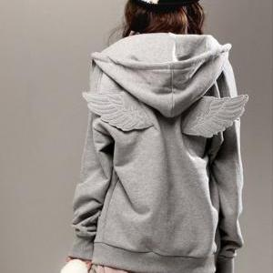 Angel Wings Hooded Zipper Sweatshirt