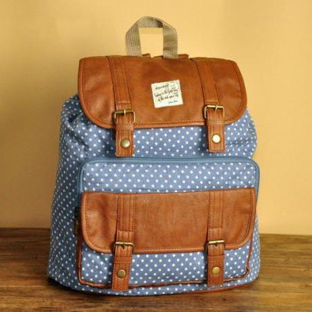 Blue Polka Dots Backpack - C