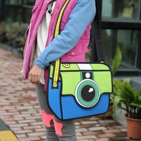 Camera Bag Cute Cartoon 3D Shoulder Bag,handbag Canvas Fashion