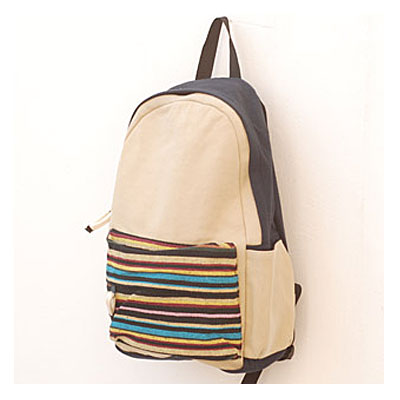 Folk Style Striped Printing Canvas Backpack