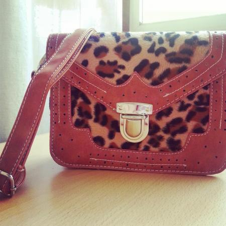Mini Satchel Bag In Light Brown And Leopard Textile Detail
