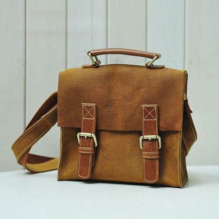 A Limited Edition Leather Bag / Rugged Leather Briefcase / Messenger /Crossbody Bag / Schoolbag--T99