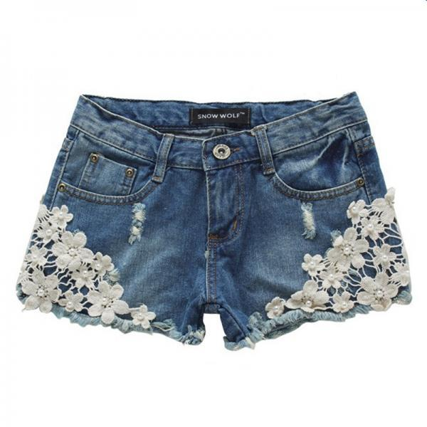 Women's Flowers Denim Shorts With Rivets Detail 041428