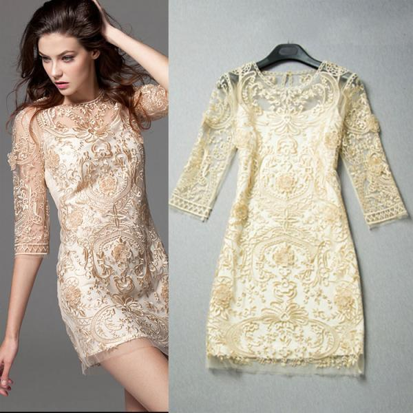 Hollow Palace Printed Embroidered Lace Party Dress
