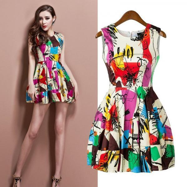 Graffiti Print Dress Short Vest Dress Unique Design Tank Dresses Women Elegant Style