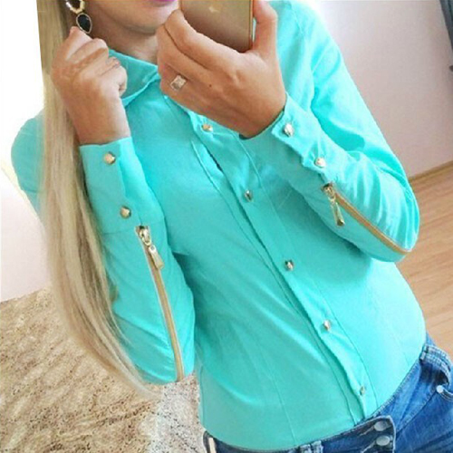 Cheap Fashion Turndown Collar Long Sleeves Single-Breasted Zipper Decorated Solid Green Shirt