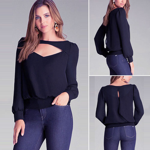 Fashion Solid Color Long Sleeve Hollow Out Chiffon T-Shirt