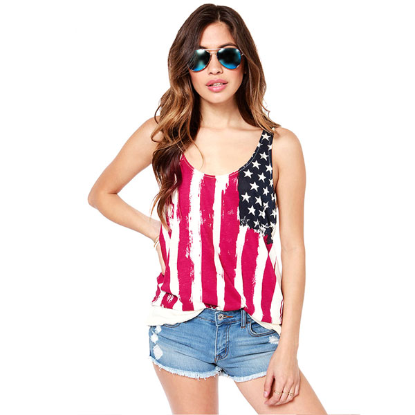 American Flag Printed Sleeveless Chiffon Stitching T-Shirt