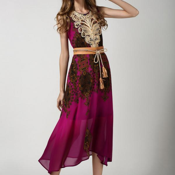 Vintage Style Ethnic Print Sequins Decorated Embroidery Sleeveless Elegant Dress With Belt
