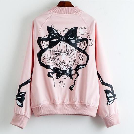 Lolita Anime Girl Baseball Jacket