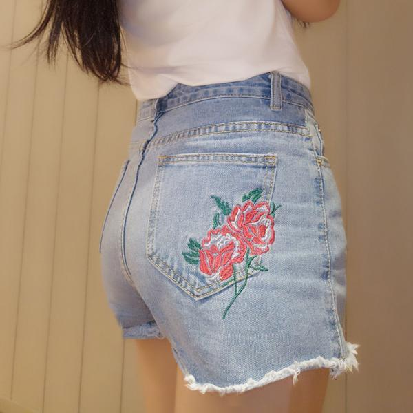 Light Washed Rose Embroidered High Rise Denim Shorts