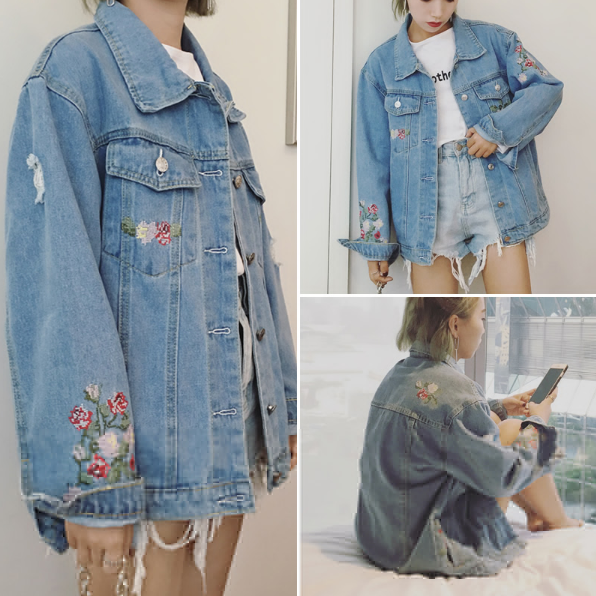 Floral Embroidered Long Sleeved Oversized Denim Jacket