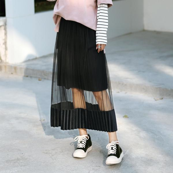 Black pleated mesh double layer skirt