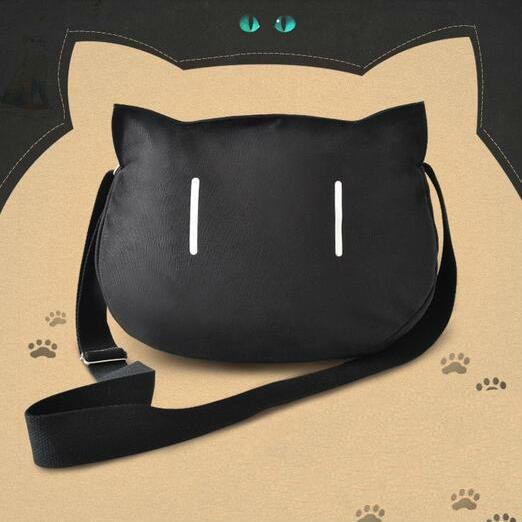 Lovely black cat cartoon single shoulder bag